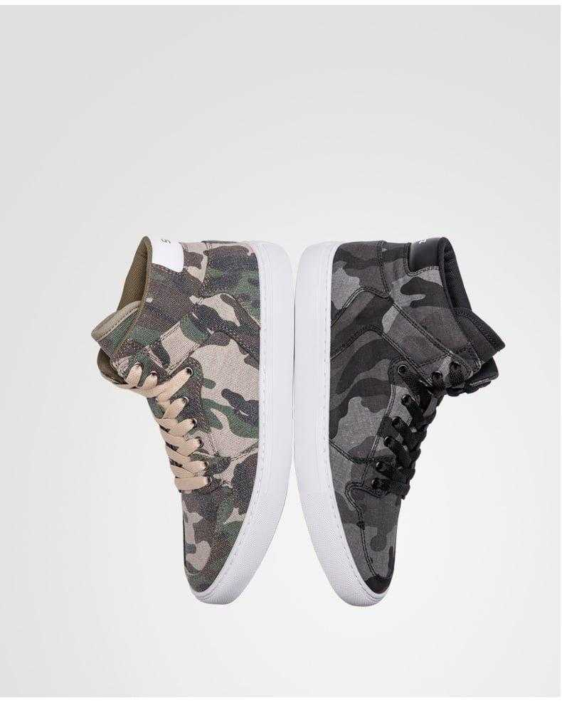 camouflage high-top sneaker